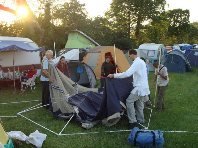 We arrive on Monday, and after a long drive pitch all the tents.