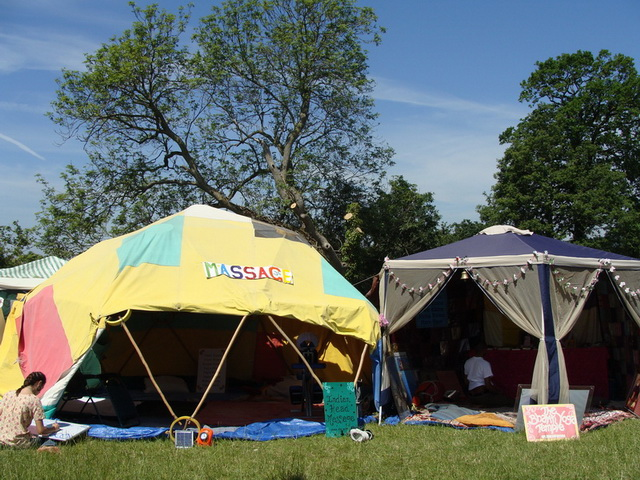The festival organisers allocate a lovely dome for us as the massage tent, and we set up a Temple tent just beside it.